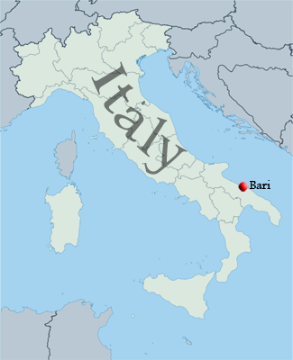 store history - map of Italy showing Bari location