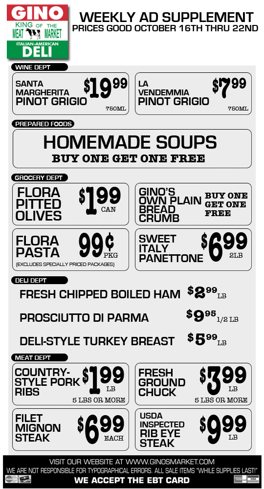 Gino's Weekly Ad Supplement 10/16/14
